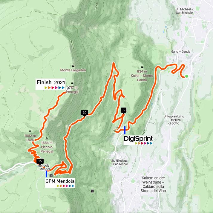 MendelRace XL 2021 Strecke von Eppan über den Mendelpass bis hinauf zum Penegal